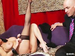 hot mature shows her long legs in black stockings and her shaved pussy