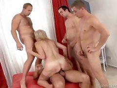 old mom rides cock and sucks four cocks in crazy group sex