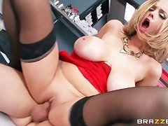 blonde milf screams when she rides hard cock