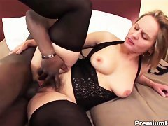lewd mature gets black cock in interracial action
